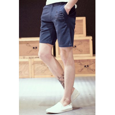 Гаджет   Vintage Straight Leg Fitted Patch Embellished Solid Color Zipper Fly Men