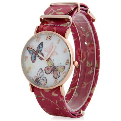 Floral Print Leather Strap Female Butterfly Face Quartz Watch