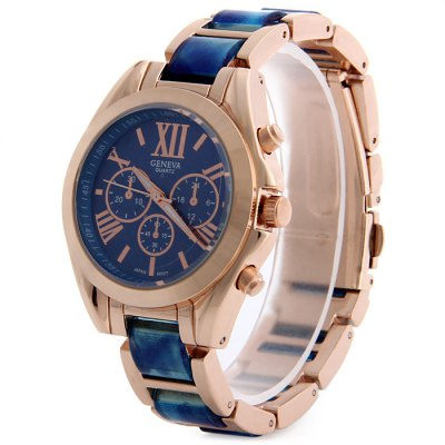 Geneva Ladies Japan Quartz Watch with Small Dial Steel Strap Decorative Sub-dials