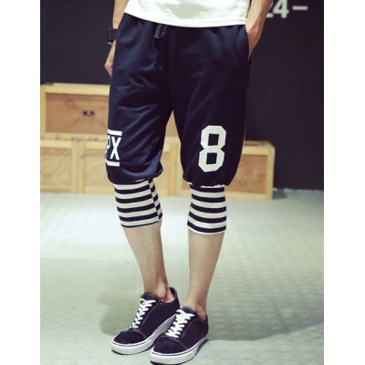 Гаджет   Slimming Fashion Lace-Up Stripe Splicing Number Print Beam Feet Men
