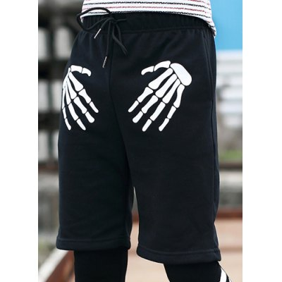 ФОТО Slimming Stylish Lace-Up Hand Bones Print Straight Leg Men