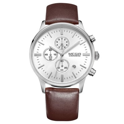 ФОТО MEGIR 2011 Water Resistance Male Japan Quartz Watch with Date Function Genuine Leather Band