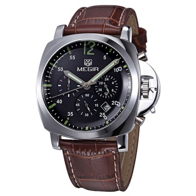 ФОТО MEGIR 3009 Japan Quartz Male Watch Water Resistance with Date Function Genuine Leather Band