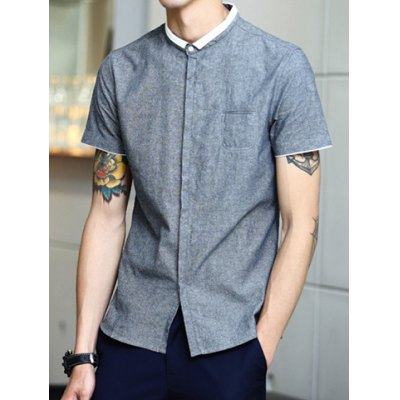 ФОТО Trendy Turndown Collar Simple Color Splicing Slimming Short Sleeve Polyester Shirt For Men