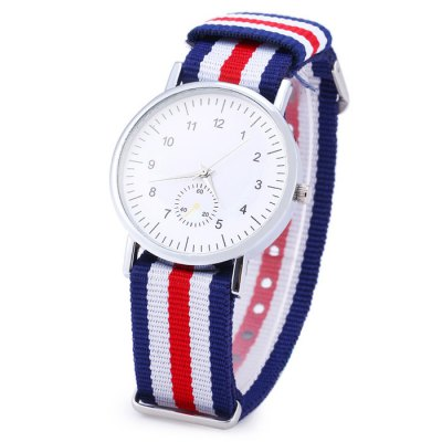 ФОТО Colorful Stripes Canvas Band Unisex Quartz Watch with Decorative Sub-dial