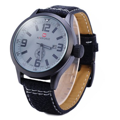 ФОТО Naviforce 9057 Water Resistance Male Japan Quartz Watch with Date Day Display Leather Band