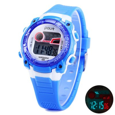 Polit 633 Water Resistant Children LED Watch with Rubber Band Date Day Alarm