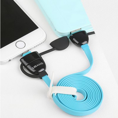 Гаджет   USAMS 1.2m Flat Cable Micro USB Interface with 8 Pin Adapter Charge and Data Transfer Cable iPhone Cables & Adapters