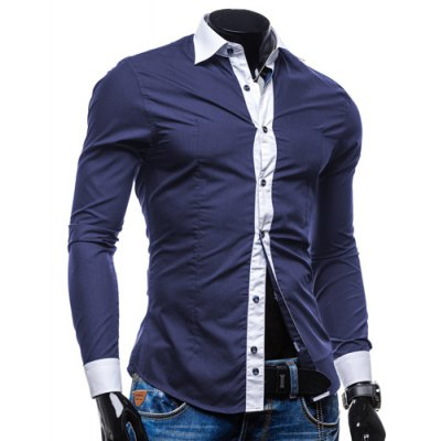 Trendy Shirt Collar Color Block Placket Button-Down Slimming Long Sleeve Polyester Shirt For MenMens Shirts<br>Trendy Shirt Collar Color Block Placket Button-Down Slimming Long Sleeve Polyester Shirt For Men<br><br>Shirts Type: Casual Shirts<br>Material: Polyester<br>Sleeve Length: Full<br>Collar: Turn-down Collar<br>Weight: 0.35KG<br>Package Contents: 1 x Shirt