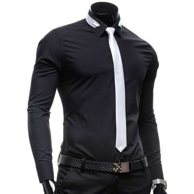 Vogue Shirt Collar Solid Color Slimming Long Sleeve Polyester Business Shirt For Men(with Detachable Tie)