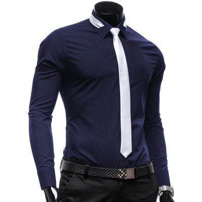 Гаджет   Vogue Shirt Collar Solid Color Slimming Long Sleeve Polyester Business Shirt For Men(with Detachable Tie) Shirts