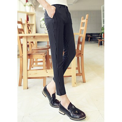 Гаджет   Slimming Vogue Vertical Stripe Pocket Button Design Narrow Feet Men