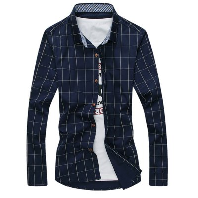 Гаджет   Stylish Shirt Collar Color Block Checked Splicing Slimming Long Sleeve Cotton Blend Button-Down Shirt For Men Shirts