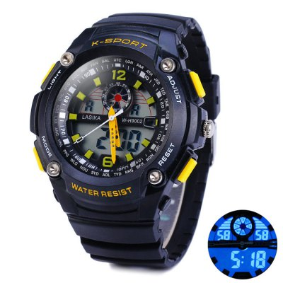 ФОТО Lasika 9002 Double Movt LED Sports Army Watch 30M Water Resistance
