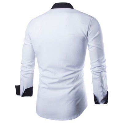 ФОТО Vogue Shirt Collar Simple Color Block Splicing Slimming Long Sleeve Cotton Blend Shirt For Men