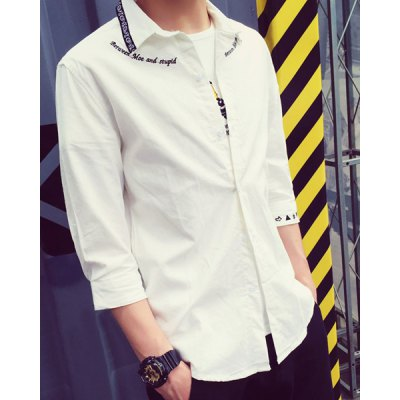 Гаджет   Fitted Letter Symbol Floral Embroidered Turn-down Collar 3/4 Length Sleeve Men