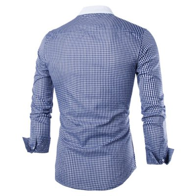 Vogue Stand Collar Tiny Checked Splicing Slimming Long Sleeve Cotton Blend Shirt For MenMens Shirts<br>Vogue Stand Collar Tiny Checked Splicing Slimming Long Sleeve Cotton Blend Shirt For Men<br><br>Shirts Type: Casual Shirts<br>Material: Cotton,Polyester<br>Sleeve Length: Full<br>Collar: Mandarin Collar<br>Weight: 0.159KG<br>Package Contents: 1 x Shirt