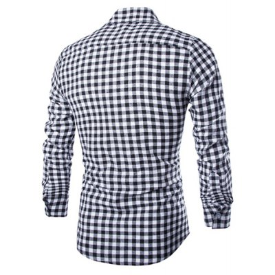 ФОТО Trendy Shirt Collar Simple Color Block Checked Slimming Long Sleeve Cotton Blend Shirt For Men