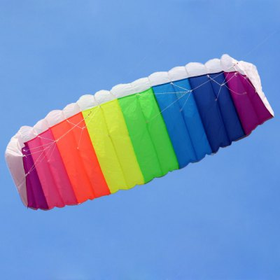 Rainbow Pattern 1.4m Frameless Flying Kite Dual Lines Control with 2 Line Board + 2pcs 30m Line