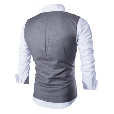 Гаджет   Stylish V-Neck Solid Color Oblique Placket Slimming Sleeveless Cotton Blend Waistcoat For Men Waistcoats