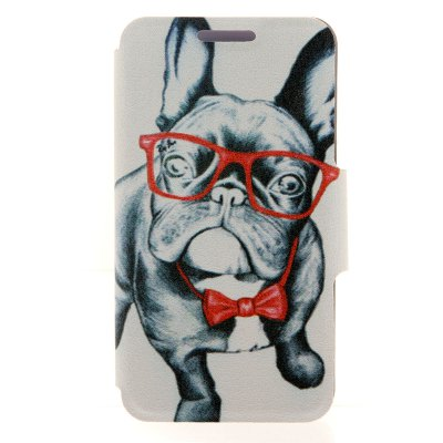 Kinston Card Holder PU Leather Phone Cover Case with Glass Dog Design for Huawei Ascend P7