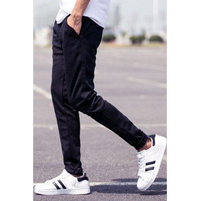 Гаджет   Sports Style Narrow Feet Zipper Fly Pocket Embellished Solid Color Fitted Men