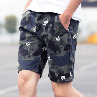 Гаджет   Camouflage Style Straight Leg Zipper Fly Flower Print Slimming Men