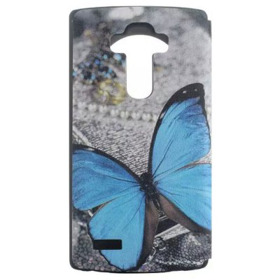 Blue Butterfly Pattern Cover Case with View Window Stand for LG G4