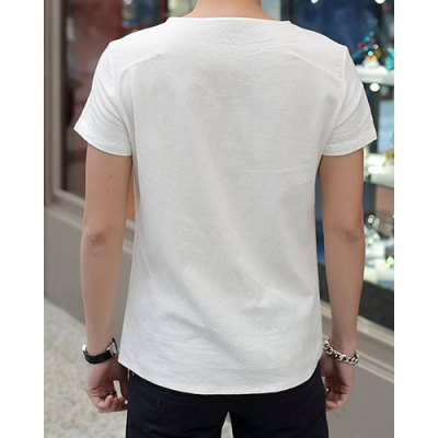 Trendy Round Neck Solid Color Button Design Slimming Short Sleeve Cotton+Linen Shirt For Men