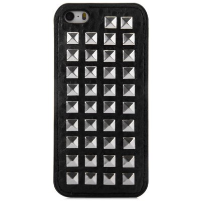 Rivet Design TPU and PU Leather Phone Back Cover Case for iPhone SE 5S