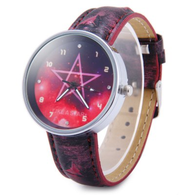Tie-dyed Leather Band Female Pentagram Pattern Quartz Watch with Golden CaseWomens Watches<br>Tie-dyed Leather Band Female Pentagram Pattern Quartz Watch with Golden Case<br><br>Watches categories: Unisex table<br>Available color: Gold, Silver, Red<br>Style : Fashion&amp;Casual<br>Movement type: Quartz watch<br>Shape of the dial: Round<br>Display type: Analog<br>Case material: Steel<br>Band material: Leather<br>Clasp type: Pin buckle<br>The dial thickness: 0.9 cm / 0.35 inches<br>The dial diameter: 3.9 cm / 1.53 inches<br>The band width: 1.8 cm / 0.71 inches<br>Wearable Length:: 17 - 20.5 cm / 6.69 - 8.07 inches<br>Product weight: 0.031 kg<br>Package weight: 0.081 kg<br>Product size (L x W x H) : 23 x 3.9 x 0.9 cm / 9.04 x 1.53 x 0.35 inches<br>Package size (L x W x H): 24 x 3.3 x 1.9 cm / 9.43 x 1.30 x 0.75 inches<br>Package contents: 1 x Watch