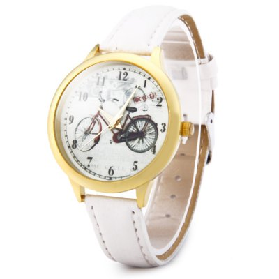 Гаджет   Golden Case Quartz Watch with Bicycle Pattern Leather Band for Women Women