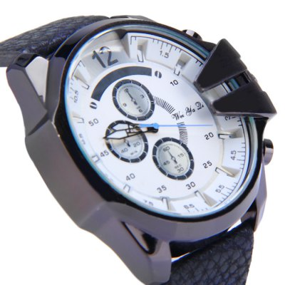 Фотография Weiyaqi 89017 Tooth-shaped Crown Male Quartz Watch with Decorative Sub-dials Embossed Leather Band