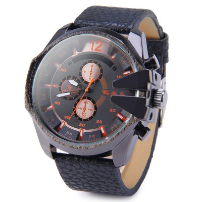 Weiyaqi 89017 Tooth-shaped Crown Male Quartz Watch with Decorative Sub-dials Embossed Leather Band