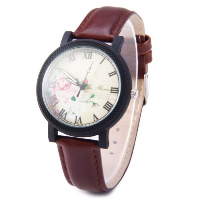 Sonsdo 6838 Retro Flower Face Lady Quartz Watch with Leather Band