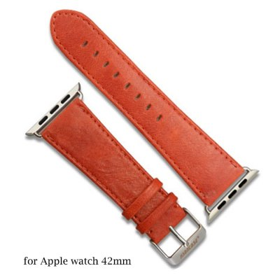 Jisoncase Oil Wax Genuine Leather Watchband Strap for Apple Watch 42mm