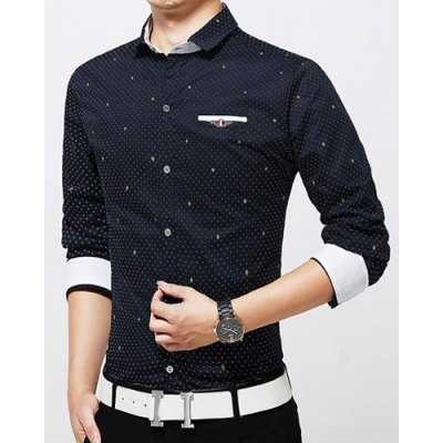 Гаджет   Slim Fit Trendy Turn-down Collar Fake Pocket Color Block Long Sleeves Men