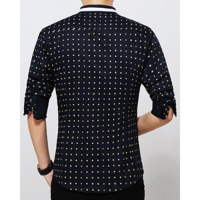 Фотография Stylish Polka Dot Print Color Block Slim Fit Long Sleeves Men