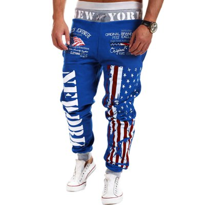 ФОТО Loose Fit Stylish Lace-Up Stars Stripes Letters Print Beam Feet Polyester Sweatpants For Men