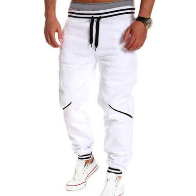 ФОТО Loose Fit Stylish Lace-Up Color Block Rib Splicing Beam Feet Polyester Sweatpants For Men