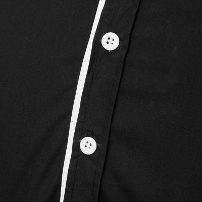 Фотография Fashion Shirt Collar Fitted Two Color Splicing Long Sleeve Polyester Shirt For Men