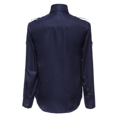 Фотография Fashion Uniform Style Shirt Collar Fitted Epaulet and Zipper Design Long Sleeve Polyester Shirt For Men