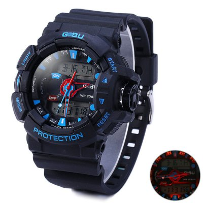 Gobu 1535 Dual Movt LED Sport Watch - CobuSports Watches<br>Gobu 1535 Dual Movt LED Sport Watch<br><br>Brand: Gobu<br>People: Unisex table<br>Watch style: Fashion&amp;Casual, Military, Outdoor Sports, LED<br>Available color: Black, Blue, Orange<br>Shape of the dial: Round<br>Movement type: Double-movtz<br>Display type: Analog-Digital<br>Case material: PC<br>Band material: Rubber<br>Clasp type: Pin buckle<br>Special features: Day, Date, Alarm clock, Stopwatch<br>Water Resistance: 30 meters<br>The dial thickness: 1.6 cm / 0.63 inches<br>The dial diameter: 5.0 cm / 1.97 inches<br>The band width: 2.2 cm / 0.87 inches<br>Wearable Length:: 16.5 - 23.5 cm / 6.50  - 9.25 inches<br>Product weight: 0.061 kg<br>Package weight: 0.111 kg<br>Product size (L x W x H) : 25.5 x 5 x 1.6 cm / 10.02 x 1.97 x 0.63 inches<br>Package size (L x W x H): 26.5 x 6 x 2.6 cm / 10.41 x 2.36 x 1.02 inches<br>Package contents: 1 x Gobu 1535 LED Watch