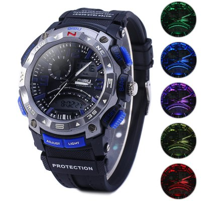 ФОТО Gobu 1534 Colorful Lights Dual Movt LED Sport Watch Water Resistance