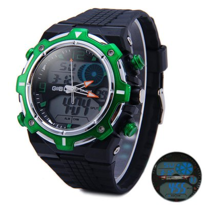 ФОТО Gobu 1533 Dual Movt LED Sport Watch 30M Water Resistance with Rubber Band