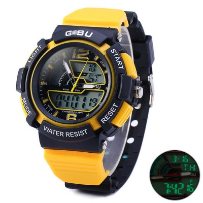 Гаджет   Gobu 1536 Water Resistance Dual Movt LED Sport Watch with Rubber Band