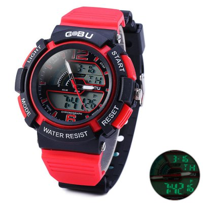 ФОТО Gobu 1536 Water Resistance Dual Movt LED Sport Watch with Rubber Band
