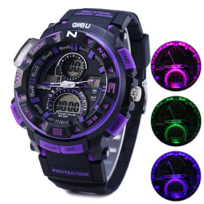 ФОТО Gobu 1510 Flashing Light Dual Movt LED Sport Watch Water Resistance Rubber Band