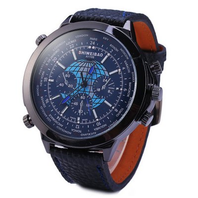 Shiweibao A1105 Big Dial Male Quartz Watch with Globe Pattern Leather Band