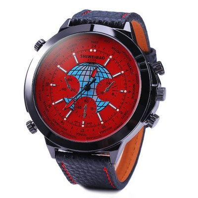 Гаджет   Shiweibao A1105 Big Dial Male Quartz Watch with Globe Pattern Leather Band Men